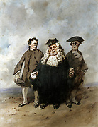 The Judge and the Plaintiffs', 1866. Watercolour. Henri Monnier (1805-1877) French playwright, caricaturisrt and actor.  France Justice Law Bourgeiosie  Corruption