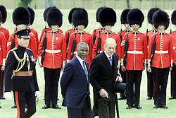 President Mbeki of South Africa escorted with the Duke of Edinburgh, as the President inspects the Guard of Honour in Home Park, before leaving for Windsor Castle. The President arrived in Britain, for a three day State visit.