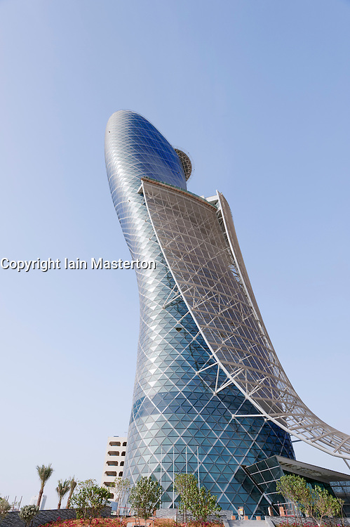 Modern Capital Gate tower at Abu Dhabi Exhibition Center which is the world's most leaning building , United Arab Emirates, UAE