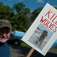 Toby Bridges of Lobo Watch at  an anti wolf protest at Bogert Park, Bozeman, Montana. Hunters and ranchers were protesting against the number of  wolves in Montana and Idaho. They say wolves are killing too many game animals, carry disease, and killing livestock. They want the numbers reduced to only 150 wolves per state or removed from the area.