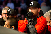 Team Takedown head coach Marc Laimon looks on as Johny Hendricks and Robbie Lawler fight for the UFC Welterweight Championship during UFC 171 at the American Airlines Center in Dallas, Texas on March 15, 2014.
