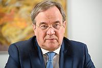 31 MAY 2021, BERLIN/GERMANY:<br /> Armin Laschet, CDU, Ministerpraesident Nordrhein-Westfalen und CDU Bundesvorsitzender, waehrend einem Interview, Landesvertretung NRW<br /> IMAGE: 20210531-01-006