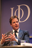 The Institute of Directors Annual Convention 2012 held at the IndigoO2 at the O2..Rt Hon. Nick Clegg MP, Deputy Prime Minister and Leader of the Liberal Democrats, speaking at the convention.