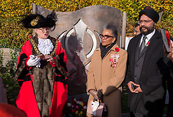 © Licensed to London News Pictures. 11/11/2019. Bristol, UK. Members of the Sikh community commemorate Armistice Day at the Sikh War Memorial in Castle Park in Bristol city centre. The event was attended by Bristol Lord Mayor JOS CLARK and the Lord Lieutenant of Bristol PEACHES GOLDING. Photo credit: Simon Chapman/LNP.