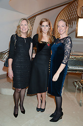Left to right, JULIET HERD, PRINCESS BEATRICE OF YORK and ROSIE NIXON at Fashion For The Brave at The Dorchester, Park Lane, London on 8th November 2013.