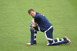 England captain Eoin Morgan during the nets session at Cardiff Wales Stadium.
