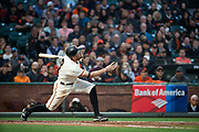 San Francisco Giants right fielder Hunter Pence (8) makes contact with a Cincinnati Reds pitch at AT&T Park in San Francisco, California, on May 11, 2017. (Stan Olszewski/Special to S.F. Examiner)