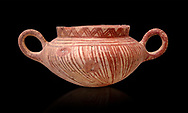 Very early Minoan rounded 2 handled pot with white and red linear motifs,  vaulted tombs Lebena 3000-2100 BC BC, Heraklion Archaeological  Museum, black background.<br /> <br /> Made of grey clay these pots are the earliest found in the Lebena vaulted tombs .<br /> <br /> If you prefer to buy from our ALAMY PHOTO LIBRARY  Collection visit : https://www.alamy.com/portfolio/paul-williams-funkystock/minoan-art-artefacts.html . Type -   Heraklion   - into the LOWER SEARCH WITHIN GALLERY box. Refine search by adding background colour, place, museum etc<br /> <br /> Visit our MINOAN ART PHOTO COLLECTIONS for more photos to download  as wall art prints https://funkystock.photoshelter.com/gallery-collection/Ancient-Minoans-Art-Artefacts-Antiquities-Historic-Places-Pictures-Images-of/C0000ricT2SU_M9w