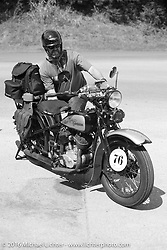 "Robert Gustavsson or ""Big Swede"" as he is fondly known, on a pit stop with his 1931 Harley-Davidson VL during Stage 5 of the Motorcycle Cannonball Cross-Country Endurance Run, which on this day ran from Clarksville, TN to Cape Girardeau, MO., USA. Tuesday, September 9, 2014.  Photography ©2014 Michael Lichter."