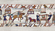 11th Century Medieval Bayeux Tapestry - Scene 41 - Wadar Supervises Williams cooks .<br /> <br /> If you prefer you can also buy from our ALAMY PHOTO LIBRARY  Collection visit : https://www.alamy.com/portfolio/paul-williams-funkystock/bayeux-tapestry-medieval-art.html  if you know the scene number you want enter BXY followed bt the scene no into the SEARCH WITHIN GALLERY box  i.e BYX 22 for scene 22)<br /> <br />  Visit our MEDIEVAL ART PHOTO COLLECTIONS for more   photos  to download or buy as prints https://funkystock.photoshelter.com/gallery-collection/Medieval-Middle-Ages-Art-Artefacts-Antiquities-Pictures-Images-of/C0000YpKXiAHnG2k