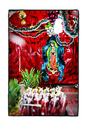 SHOT 2/20/19 11:52:33 AM -  A likeness of Our Lady of Guadalupe at a fruit stall in the Mercado Municipal Lucas de Gálvez in Merida, Mexico. Our Lady of Guadalupe is a powerful and ubiquitous symbol of Mexican identity because some guess that Our Lady of Guadalupe's skin tone matches that of Mexico's indigenous population: light brown. She is as much revered for her striking similarity to the vanquished native Mexican population as she is for being the mother of God. Mérida is the capital and largest city in Yucatan state in Mexico, as well as the largest city of the Yucatán Peninsula. As the largest city in the Yucatan it has become a hub for commerce and culture. (Photo by Marc Piscotty / © 2019)