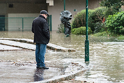 Due to heavy rains of recent days, a large flood of the Seine is underway in Paris provoking flooding at the docks. While the water level is expected to increase further to 6m20, the riverbank lanes have been closed to traffic and flood walls have been erected at various locations. Paris, France, January 25, 2018. Photo by Samuel Boivin/ABACAPRESS.COM