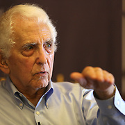 Government whistleblower Daniel Ellsberg speaks with Lowell Bergman, Director of the Investigative Reporting Program at the UC Berkeley Graduate School of Journalism during the first week orientation for incoming students at North Gate Hall in Berkeley, California, on Wednesday, August 27, 2014. Ellsberg, who is most famous for his role in the Pentagon Papers ordeal, interacted with students about such topics as freedom of the press, whistleblowers Eric Snowden and Chelsea Manning, and the responsibilities and ethical morals of reporters and other members of the media. (AP Photo/Alex Menendez)