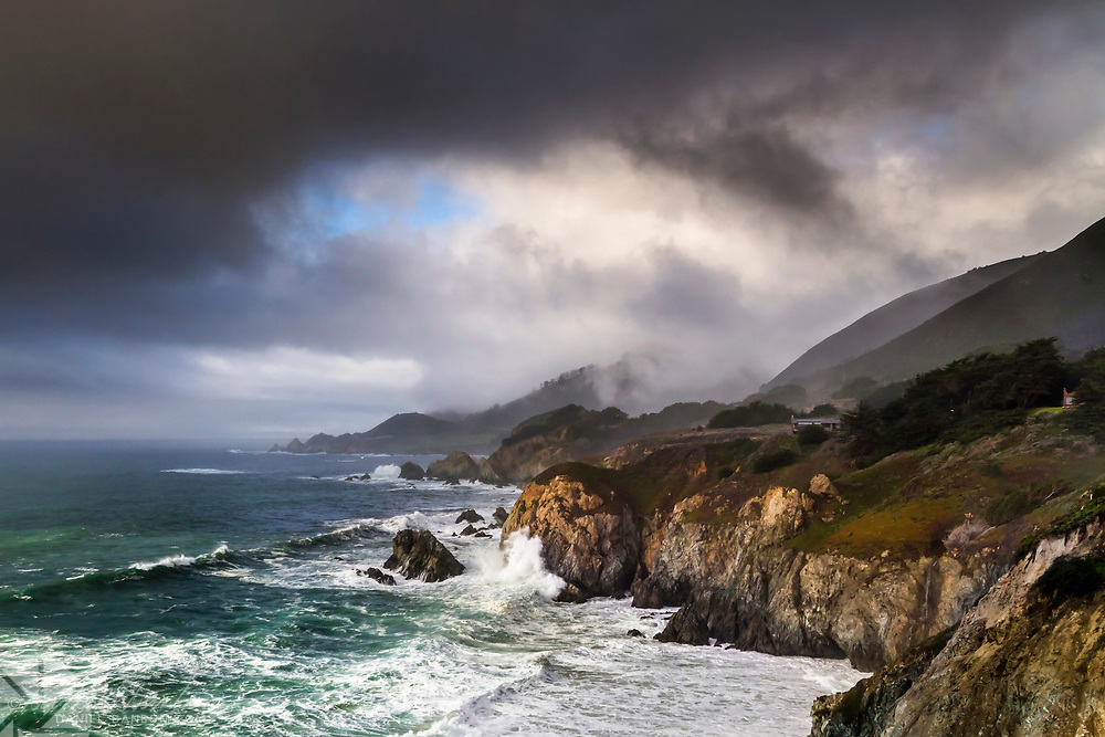 Stormy day looking toward Rocky Point, on the Big Sur Coast, Highway 1, California