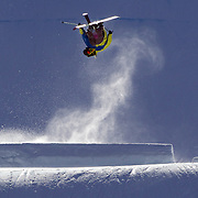 Vincent Gagnier, Canada, in action in the Slopestyle Finals during The North Face Freeski Open at Snow Park, Wanaka, New Zealand, 2nd September 2011. Photo Tim Clayton....