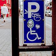 Demented handicapped parking sign, Reykjavik, Iceland (August 2006)