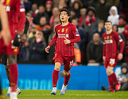 LIVERPOOL, ENGLAND - Wednesday, March 11, 2020: Liverpool's substitute Takumi Minamino during the UEFA Champions League Round of 16 2nd Leg match between Liverpool FC and Club Atlético de Madrid at Anfield. (Pic by David Rawcliffe/Propaganda)