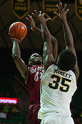 WACO, TX - DECEMBER 17: Pascal Siakam #43 of the New Mexico State Aggies shoots the ball over Johnathan Motley #35 of the Baylor Bears on December 17, 2014 at the Ferrell Center in Waco, Texas.  (Photo by Cooper Neill/Getty Images) *** Local Caption *** Pascal Siakam
