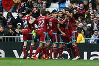 Real Sociedad´s Bruma celebrates a goal (1-1) with his team mates during La Liga match between Real Madrid and Real Sociedad at Santiago Bernabeu stadium in Madrid, Spain. December 30, 2015. (ALTERPHOTOS/Victor Blanco)