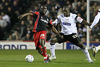 Photo: Pete Lorence.<br />Derby County v Queens Park Rangers. Coca Cola Championship. 13/03/2007.<br />Paul Furlong battles with Darren Moore.