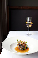 Maitake mushroom with crispy pig ear at Castagna Restaurant in Portland, OR