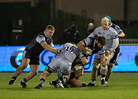 Rugby Union - 2020 / 2021 Gallagher Premiership - Newcastle Falcons vs Sale - Kingston Park<br /> <br /> Greg Peterson of Newcastle Falcons is tackled Matt Postlethwaite of Sale Sharks<br /> <br /> COLORSPORT/BRUCE WHITE