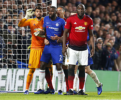 February 18, 2019 - London, United Kingdom - L-R Manchester United's Sergio Romero, Chelsea's Antonio Rudiger and Manchester United's Romelu Lukaku.during FA Cup Fifth Round between Chelsea and Manchester United at Stanford Bridge stadium , London, England on 18 Feb 2019. (Credit Image: © Action Foto Sport/NurPhoto via ZUMA Press)