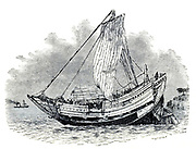 Illustration of a Japanese Junk from the book ' Rambles in Japan : the land of the rising sun ' by Tristram, H. B. (Henry Baker), 1822-1906. Publication date 1895. Publisher New York : Revell