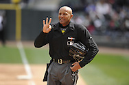 CHICAGO - APRIL 20:  Home plate umpire CD Bucknor #54 looks on during the game between the MInnesota Twins and Chicago White Sox on April 20, 2013 at U.S. Cellular Field in Chicago, Illinois.  The Twins defeated the White Sox 2-1 .  (Photo by Ron Vesely)   Subject:  CB Bucknor