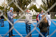 "03 OCTOBER 2020 - NEW PROVIDENCE, IOWA: J.D. SCHOLTEN talks to voters during a socially distanced campaign stop in New Providence, a small community in central Iowa. Scholten, and everybody else there, also wore face masks in accordance with CDC guidelines to prevent the spread of COVID-19. Scholten, a Democrat from Sioux City, Iowa, ran against incumbent CongressmanSteve King (R-4th District Iowa) in 2018 and came within a few percentage points of upsetting the long serving conservative. King lost to Randy Feenstra, a Republican challenger, in the 2020 primary and Scholten is running against Feenstra in the 2020 general election on November 3. Iowa's 4th district, centered in the agricultural and sparsely populated northwest corner of the state, is the largest congressional district in Iowa and encompasses about ⅓ of the state of Iowa. Scholten is on his ""Every Town Tour 2020."" He is visiting all 375 towns in the 39 counties in the district.           PHOTO BY JACK KURTZ"