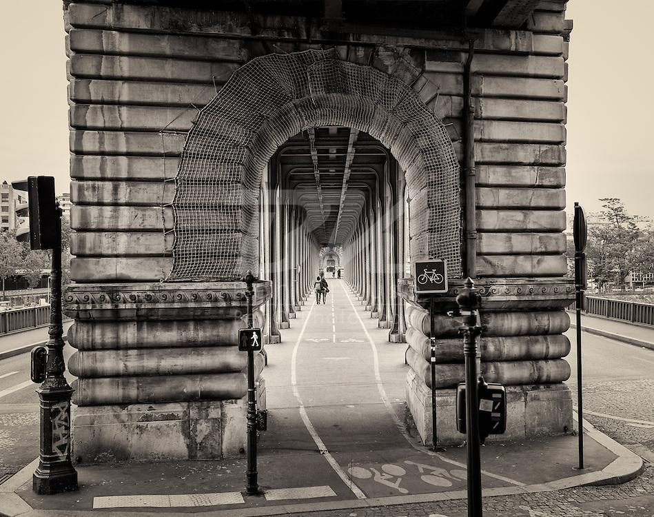 Pont de Bir-Hakeim Bridge near the Eiffel Tower in Paris, France on May 18, 2012.  This bridge was featured in the movie Inception.