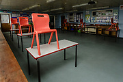 MERTHYR TYDFIL, WALES - 19 JUNE 2020: Reduced desks in classrooms as Pen-Y-Dre High School prepares to welcome back its students on the 29th of June during the coronavirus pandemic.