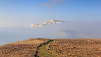 Winter fog and sunshine at Freshwater Bay, Isle of Wight