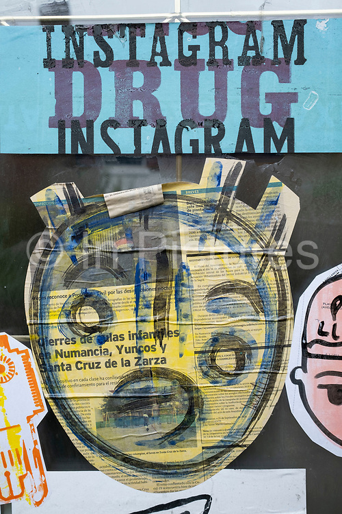 Anti-Instagram social media paste up street art on 29th June 2021 in Birmingham, United Kingdom. This graffiti is a social comment by an unknown street artist about the perceived negative affects that social media can have on humans, and that it could be as addictive to users as some drugs. Instagram is an American photo and video sharing social networking service created by Kevin Systrom and Mike Krieger. In April 2012, Facebook acquired the service for approximately US$1 billion in cash and stock.