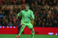 Everton goalkeeper Joel Robles   watches as the ball goes wide  during the Capital One Cup match between Middlesbrough and Everton at the Riverside Stadium, Middlesbrough, England on 1 December 2015. Photo by Simon Davies.