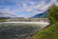 USA, Columbia River Gorge. The Bonneville Dam controlling the flow of the Columbia River, connecting Oregon and Washington state.