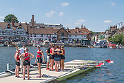 """Henley on Thames, United Kingdom, 8th July 2018, Sunday, View, After the Final of """"The Diamond Jubilee Challenge Cup"""",  right, """"Y Quad Cities, Rowing Association"""", with Coach Peter SHARIS, on the pontoon,  """"Fifth day"""", of the annual,  """"Henley Royal Regatta"""", Henley Reach, River Thames, Thames Valley, England, © Peter SPURRIER,"""
