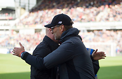 Liverpool manager Jurgen Klopp (R) and Burnley manager Sean Dyche before the match - Mandatory by-line: Jack Phillips/JMP - 31/08/2019 - FOOTBALL - Turf Moor - Burnley, England - Burnley v Liverpool - English Premier League