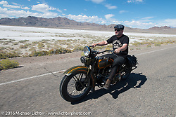 Sean Brayton riding a 1929 Harley-Davidson JD after the Panorama portrait on the Bonneville Salt Flats during stage 12 (299 m) of the Motorcycle Cannonball Cross-Country Endurance Run, which on this day ran from Springville, UT to Elko, NV, USA. Wednesday, September 17, 2014.  Photography ©2014 Michael Lichter.
