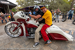 Kory Souza giving some love at the Perewitz Paint Show at the Broken Spoke Saloon during Daytona Beach Bike Week, FL. USA. Wednesday, March 13, 2019. Photography ©2019 Michael Lichter.
