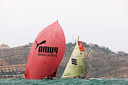 © Sander van der Borch.Alicante, 11 October 2008. Start of the Volvo Ocean Race. Puma with a masthead gennaker heading for the last mark on the run. They gybed a little late over laying the bottom mark, while Ericsson 4 gybed to early. In the end Ericsson 4 extend their lead at the bottom mark by an other 200 meters.