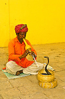 Snakecharmer with cobra at the City Palace, Jaipur, Rajasthan, India