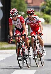 03.07.2011, AUT, Oesterreich Rundfahrt, 1. Etappe, Dornbirn-Goetzis, im Bild Schoeffmann Martin (WSA - Viperbike Kaerten) und Edet Nicolas (Cofidis, Le Credit en Ligne), during the 63rd Tour of Austria, Stage 1, EXPA Pictures © 2011, PhotoCredit: EXPA/ P.Rinderer