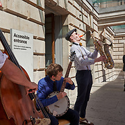 A band plays at the Royal Academy of Art in London, United Kingdom.