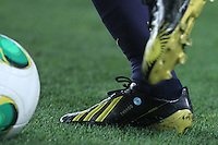 16.01.2013 Barcelona, Spain. Spanish Cup, quarter-final first leg. Picture show  Leo Messi's shoe during game FC Barcelona v Malaga at Camp Nou.