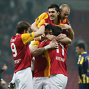Galatasaray's Albert Riera Ortega celebrate his goal with team mate during their Turkish Super League soccer match Galatasaray between MKE Ankaragucu at the TT Arena at Seyrantepe in Istanbul Turkey on Wednesday, 25 January 2012. Photo by TURKPIX
