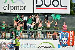 Fans of NK Krsko during football match between NS Mura and NK Krsko in 5th Round of Prva liga Telekom Slovenije 2018/19, on August 19, 2018 in Mestni stadion Fazanerija, Murska Sobota, Slovenia. Photo by Mario Horvat / Sportida