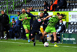 Aaron Collins of Forest Green Rovers competes with Luther Wildin of Stevenage- Mandatory by-line: Nizaam Jones/JMP - 17/10/2020 - FOOTBALL - innocent New Lawn Stadium - Nailsworth, England - Forest Green Rovers v Stevenage - Sky Bet League Two