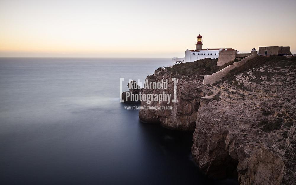Dusk at the lighthouse on Cape St. Vincent near Sagres, Portugal.