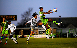 Miles Welch-Hayes of Colchester United and Ebou Adams of Forest Green Rovers compete for the highball- Mandatory by-line: Nizaam Jones/JMP - 27/02/2021 - FOOTBALL - The innocent New Lawn Stadium - Nailsworth, England - Forest Green Rovers v Colchester United - Sky Bet League Two
